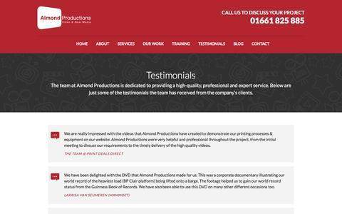 Screenshot of Testimonials Page almondproductions.co.uk - Testimonials - Almond Productions - captured May 29, 2017