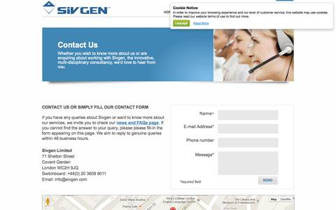 Screenshot of Contact Page sivgen.com - Contact - captured Oct. 27, 2014