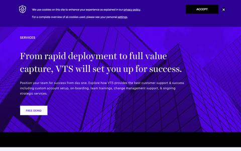 Screenshot of Services Page vts.com - Customer Success & Services - VTS - captured Oct. 19, 2018