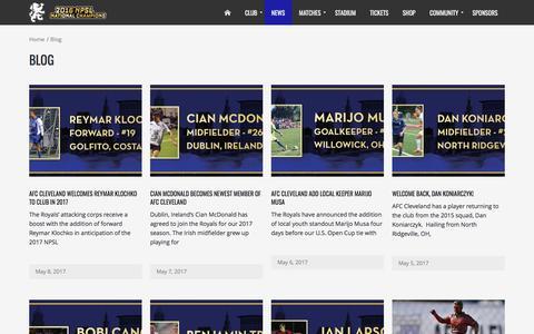 Screenshot of Press Page afccleveland.com - News – AFC Cleveland Royals - captured May 9, 2017