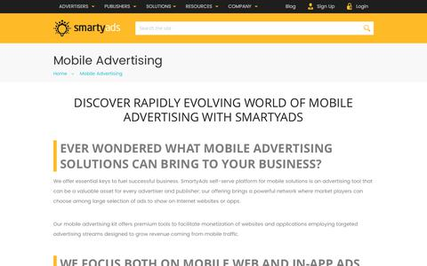 Screenshot of smartyads.com - Mobile Advertising and Monetization Platform — SmartyAds - captured May 31, 2017