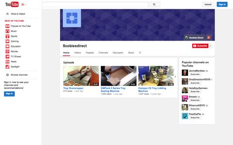 Screenshot of YouTube Page youtube.com - Scobiesdirect  - YouTube - captured Oct. 26, 2014