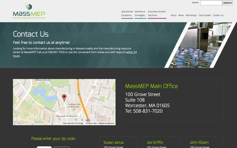 Screenshot of Contact Page massmep.org - MassMEP | Contact UsMassMEP - captured Oct. 29, 2014