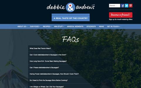 Screenshot of FAQ Page debbieandandrews.co.uk - debbie & andrew's - FAQs - captured Oct. 29, 2014