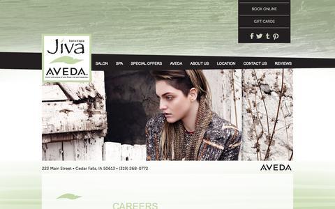 Screenshot of Jobs Page jivasalonspa.com - Careers | Jiva Salonspa Jiva Salonspa | Cedar Falls, IA - captured Sept. 26, 2014