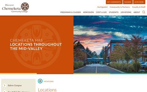Screenshot of Locations Page chemeketa.edu - Locations   Chemeketa Commmunity College - captured Sept. 27, 2018