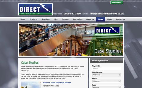 Screenshot of Case Studies Page direct-telecom-svs.co.uk - Direct Telecom Services - News - Case Studies - captured Oct. 5, 2014