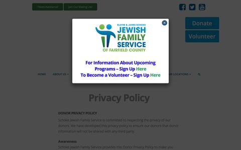 Screenshot of Privacy Page ctjfs.org - Privacy Policy | Elayne and James Schoke Jewish Family Service - captured Oct. 13, 2018