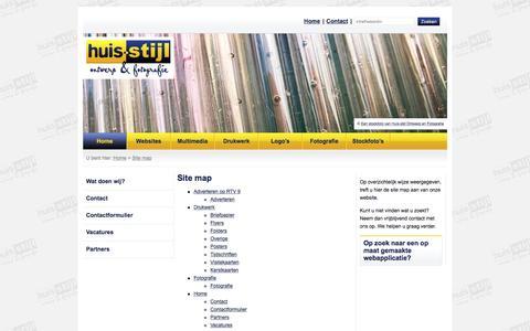 Screenshot of Site Map Page huis-stijl.nl - Site map > Huisstijl Ontwerp en Fotografie, grafisch ontwerpbureau Nieuwegein / Utrecht - captured Feb. 1, 2016