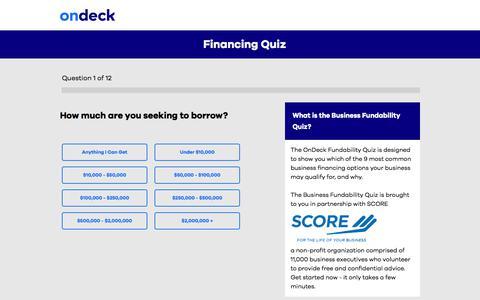 Fundability Quiz | Loan Fundability Requirements | OnDeck