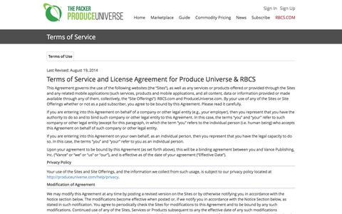 Screenshot of Terms Page produceuniverse.com - Produce Universe - Terms of Service - captured Dec. 13, 2015
