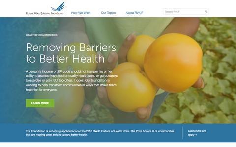Screenshot of Home Page rwjf.org - Home - Robert Wood Johnson Foundation - captured Oct. 1, 2015
