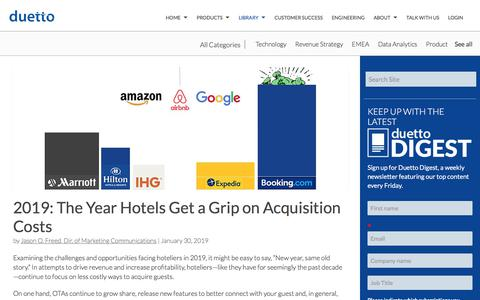 Screenshot of Pricing Page duettocloud.com - 2019: The Year Hotels Get a Grip on Acquisition Costs - captured Jan. 6, 2020