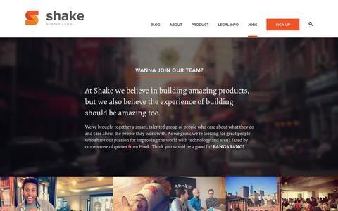Screenshot of Jobs Page shakelaw.com - Jobs - Shake | Free Legal Contracts - captured Sept. 17, 2014