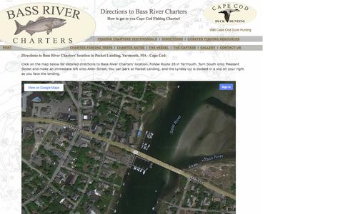 Screenshot of Maps & Directions Page bassrivercharters.com - Cape Cod Fishing Charter with Bass River Charters - Tuna Fishing, Cape Cod Striper Fishing - captured Sept. 30, 2014