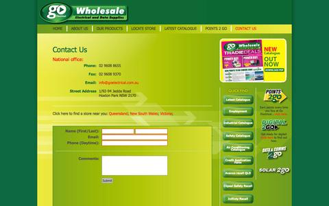 Screenshot of Contact Page goelectrical.com.au - Go Electrical : Wholesale suppliers of electrical and data products for Australia - captured Sept. 27, 2014