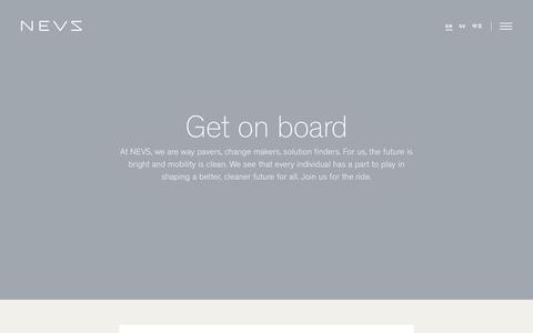 Screenshot of Jobs Page nevs.com - NEVS - Get on board - captured Oct. 26, 2017