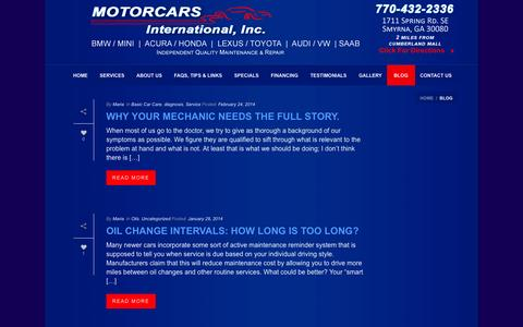 Screenshot of Blog motorcarsintl.com - Import Auto Repair Marietta | Motorcars International Atlanta - captured Oct. 26, 2014
