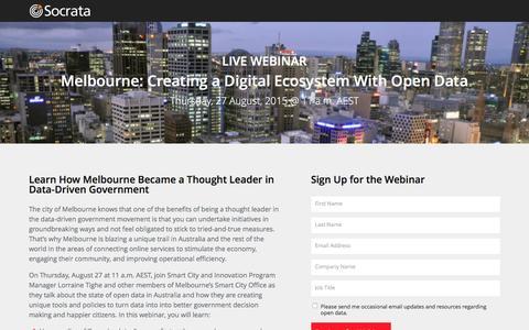Screenshot of Landing Page socrata.com - Create a Digital Ecosystem With Open Data - captured Oct. 20, 2016