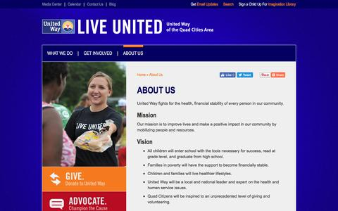 Screenshot of About Page unitedwayqc.org - About Us | United Way of the Quad Cities Area - captured Oct. 19, 2017