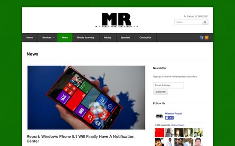 Screenshot of Press Page missionrepair.com.au - News - Mission Repair | iPhone, iPad, Smartphone, Tablet, Gaming Console repairs | Mission Repair - captured Oct. 7, 2014