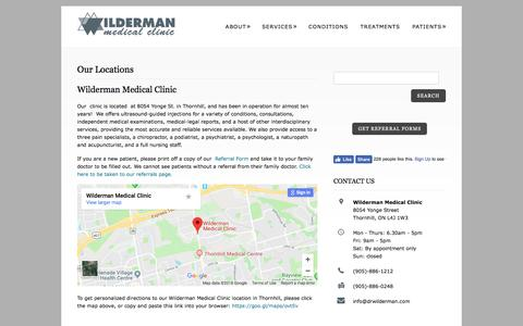 Screenshot of Locations Page drwilderman.com - Wilderman Medical Clinic Locations in OntarioWilderman Medical Clinic – Pain Clinic in Toronto Area - captured May 13, 2018