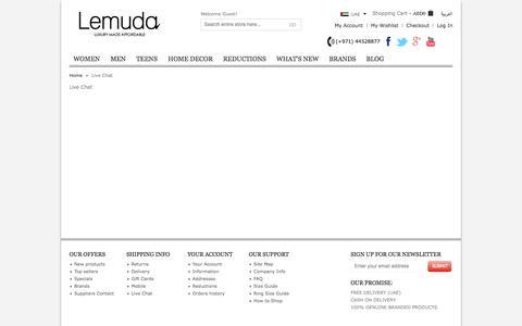 Screenshot of Support Page lemuda.com - Live Chat - captured Sept. 22, 2014