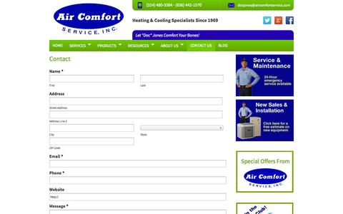 Screenshot of Contact Page aircomfortservice.com - HVAC St Louis - Heating Cooling Installation and Repair | Contact Air Comfort - captured Sept. 22, 2014