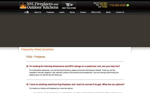 Screenshot of FAQ Page nycfireplaces.com - NYC Fireplaces and Outdoor Kitchens - Fireplaces, Barbecue and Grills, Outdoor Living Products, and More - captured Feb. 16, 2016