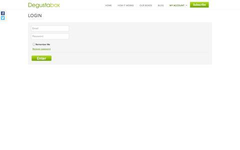 Screenshot of Login Page degustabox.com - Degustabox » Login - captured Sept. 19, 2014