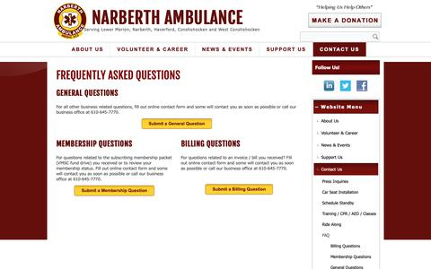 Screenshot of FAQ Page narberthambulance.org - Frequently Asked Questions – Narberth Ambulance - captured Oct. 19, 2018