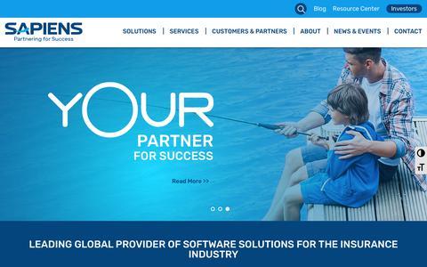 Screenshot of Home Page sapiens.com - Insurance Software Solutions | Sapiens - captured Feb. 7, 2019