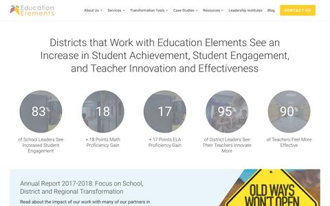 Screenshot of Case Studies Page edelements.com - Personalized Learning Success Stories - Education Elements - captured Aug. 8, 2019