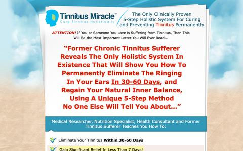 Screenshot of Home Page Site Map Page tinnitusmiracle.com - Tinnitus Miracle™ - Cure Tinnitus Holistically - captured Oct. 19, 2018