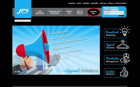 Screenshot of Products Page jpsmarketing.co.nz - Home - Promotional Marketing - Apparel Solutions - Marchand... - captured Oct. 4, 2014