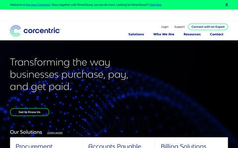 Screenshot of Home Page corcentric.com - AP Automation, Procurement, and Billing Solutions | Corcentric - captured March 28, 2018