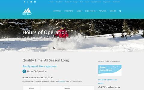 Screenshot of Hours Page banffnorquay.com - Hours - Mount Norquay - captured Dec. 23, 2016