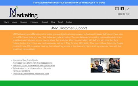 Screenshot of Support Page jm2marketing.com - Customer support available information - captured July 10, 2018
