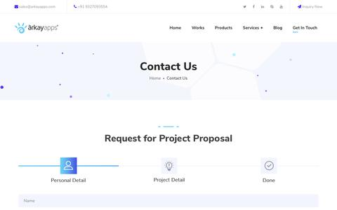 Screenshot of Contact Page arkayapps.com - Contact Arkay Apps for website Design, Mobile App Development, Digital marketing | - captured March 20, 2019