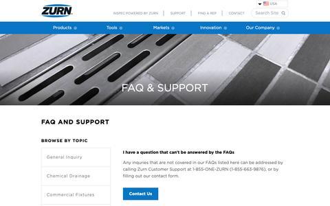 Screenshot of Support Page zurn.com - FAQs & Support | Engineered Water Solutions | Zurn - captured Oct. 18, 2018