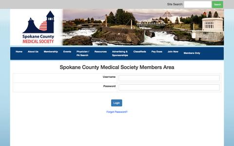Screenshot of Login Page spcms.org - Spokane County Medical Society Chamber of Commerce - captured Dec. 1, 2016