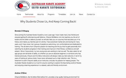 Screenshot of Testimonials Page aka.com.au - Testimonials - Australian Karate Academy - captured Nov. 13, 2018