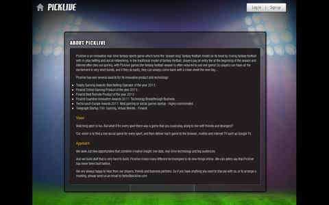 Screenshot of About Page picklive.com - Picklive - About Picklive - captured Sept. 11, 2014