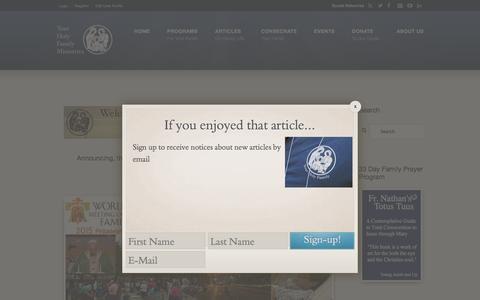 Screenshot of Home Page yourholyfamily.com - Home Page - Your Holy Family Your Holy Family - captured Dec. 5, 2015