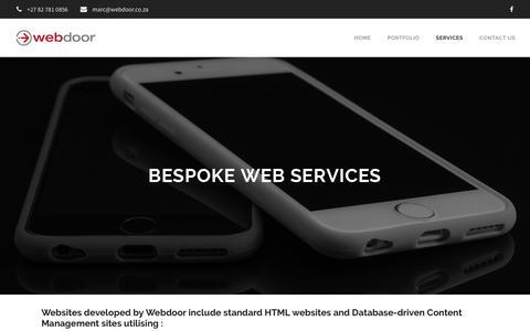 Screenshot of Services Page webdoor.co.za - Bespoke Web Services - Webdoor | Responsive Web Design Agency | Hillcrest - captured Oct. 22, 2018