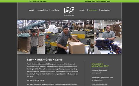 Screenshot of Team Page teampsc.com - Team PSC | Careers at Pacific Southwest Container, LLC - captured Oct. 1, 2014