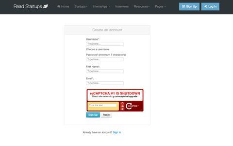 Screenshot of Signup Page readstartups.com - Online platform for Startups, Business Ideas, Entrepreneurs, Startup tools | Read Startups - captured Nov. 8, 2018