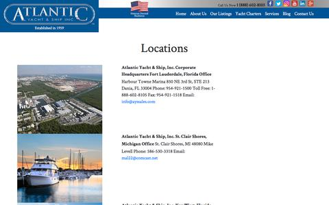 Screenshot of Locations Page atlanticyachtandship.com - Atlantic Yacht and Ship Locations  : Atlantic Yacht & Ship, Inc. - captured Sept. 24, 2018