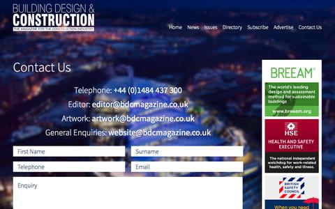 Screenshot of Contact Page bdcmagazine.co.uk - Building Design & Construction Magazine | Contact Us - captured Oct. 3, 2014