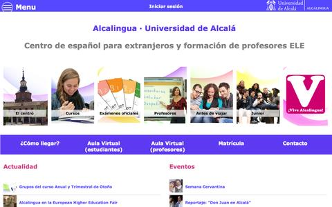 Screenshot of alcalingua.com - Centro Internacional de Español | Alcalingua · Universidad de Alcalá - captured Oct. 11, 2014